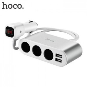 Hoco Z13 LCD Car Fast Charger Dual USB Port 2.1A with 3 Lighter