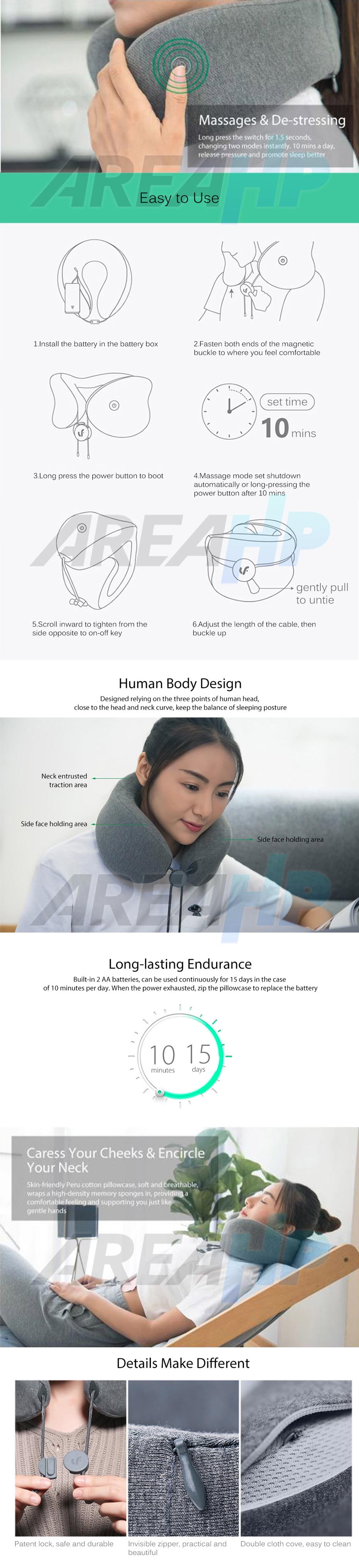 Xiaomi Mijia Universal Neck Massager Pillow Relax Muscle Therapy Original Overview
