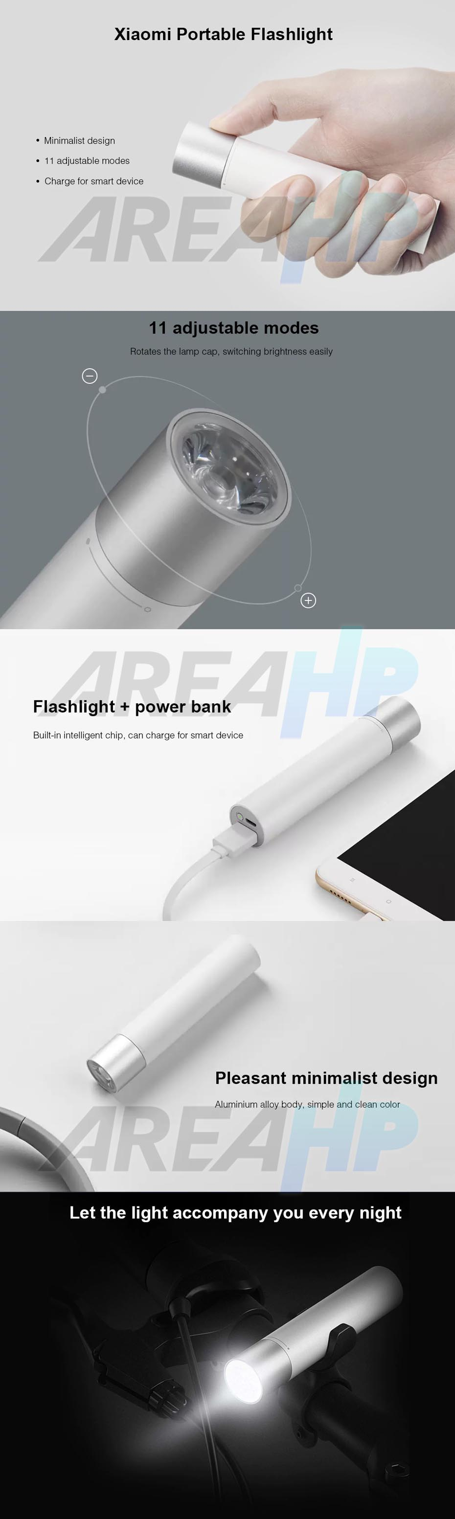 Xiaomi Portable Torch LED Flashlight and Powerbank 3350 mAh Original Overview
