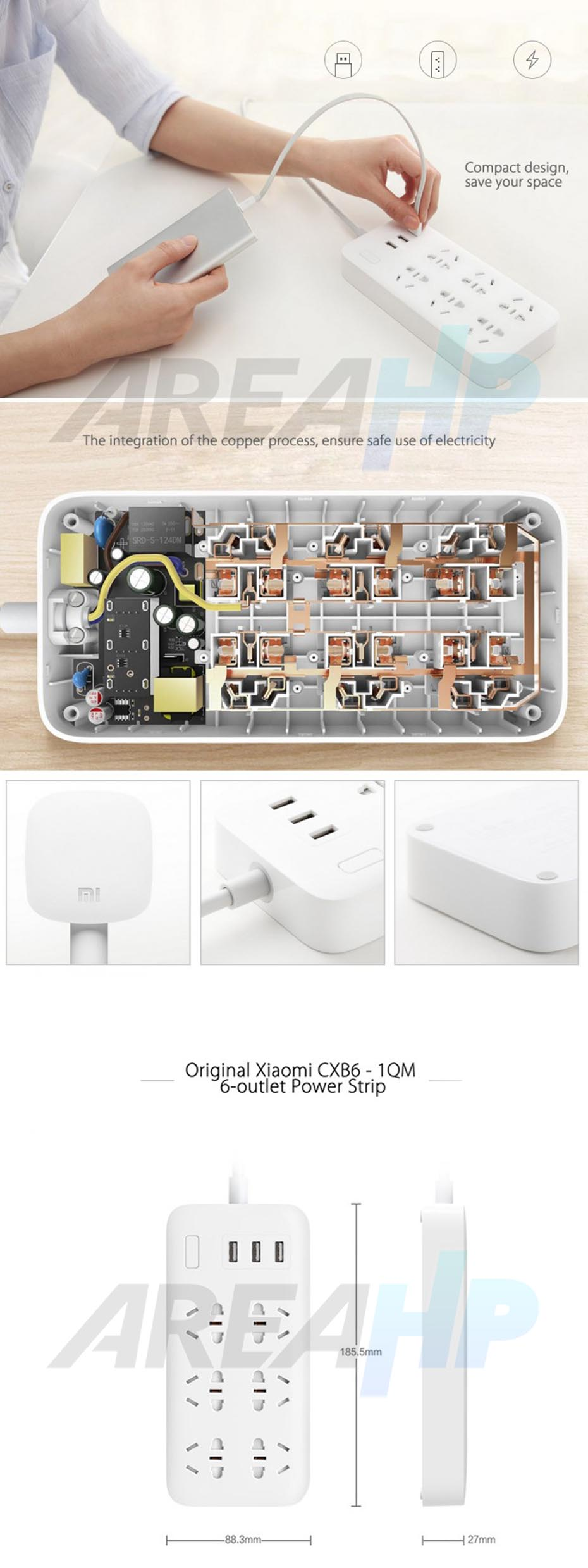 Xiaomi Smart Powerstrip Stop Kontak 6 Socket 3 USB 2A Original Overview