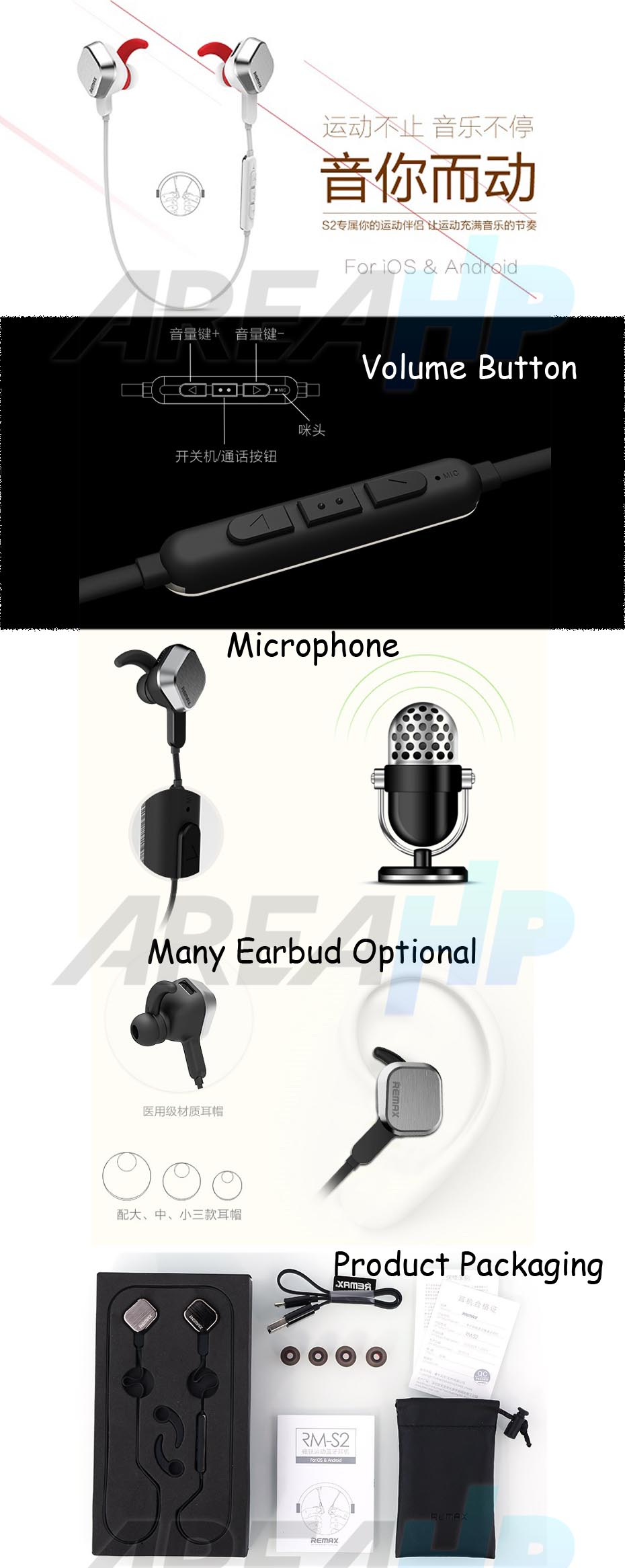 Remax Earphone Bluetooth Sport with Mic Volume Control RB-S2 Overview