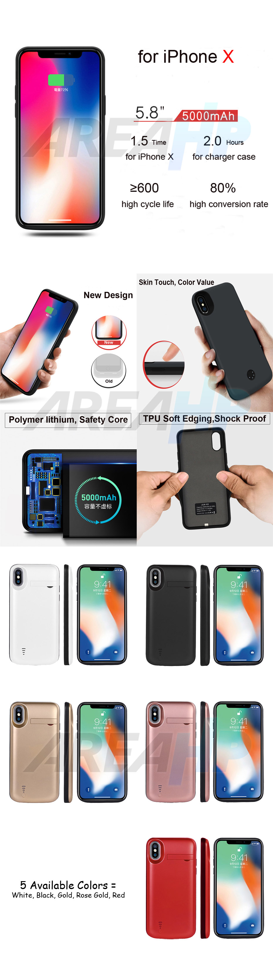 Power Case 5000mAh For iPhone X3 Overview