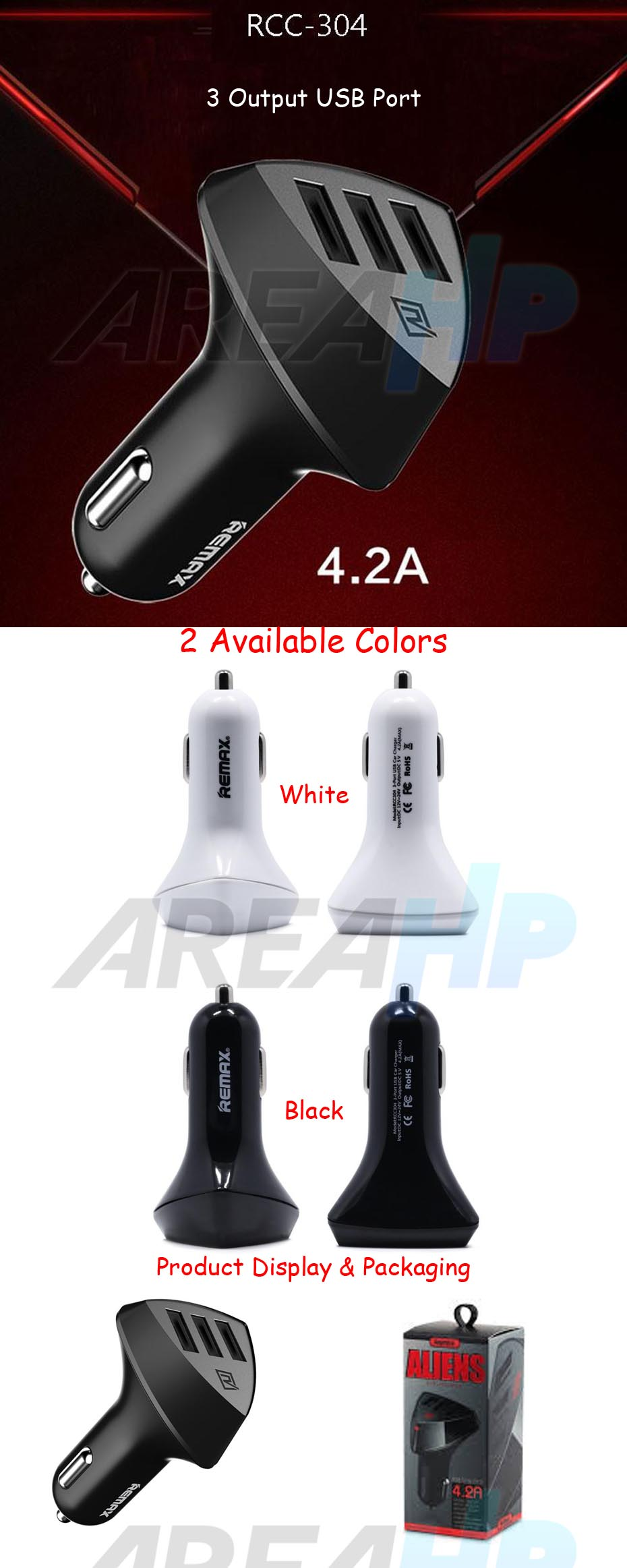 Remax Alien Car Fast Charger 3 USB Port 4.2A RC-C304 Overview