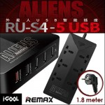 Remax Aliens Power Strip Stop Kontak 6 Socket 5 USB Port 4.2A RU-S4