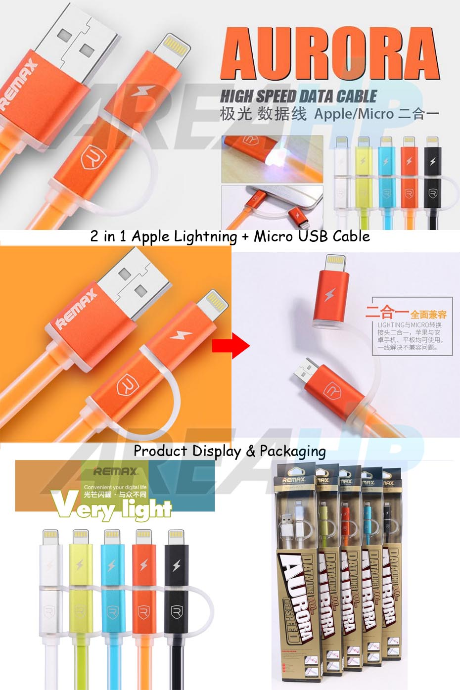 Remax Aurora 2in1 Apple Lightning, Micro USB Cable 1M RC-020T Overview
