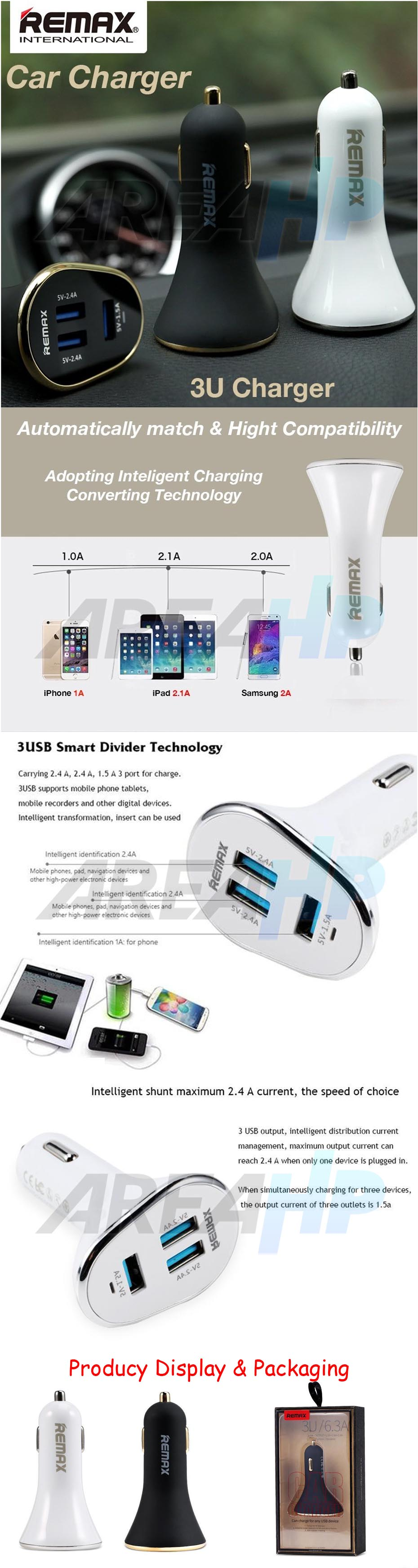 Remax Car Fast Charger 3 USB Port 6.3A RCC302 Overview