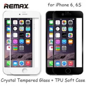 Remax Crystal Set Tempered Glass TPU Soft Case iPhone 6 6S GL-08
