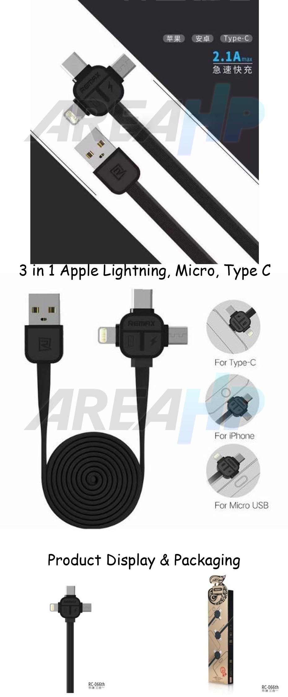 Remax Lesu 3in1 Apple Lightning, Micro, Type C USB Cable 1M RC-066TH Overview