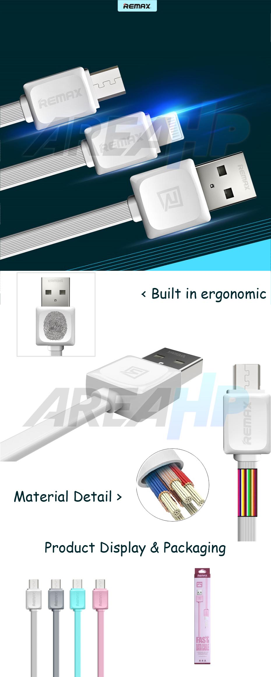 Remax Micro USB Fast Charging Data Cable 1M RC-008M Overview