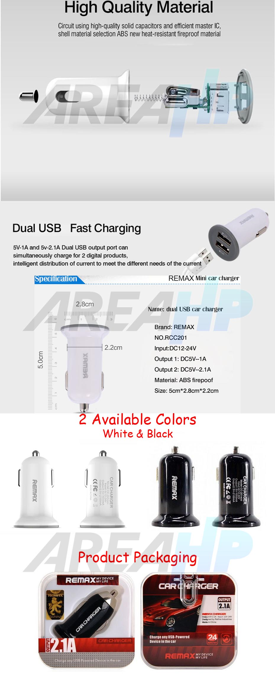 Remax Mini Car Fast Charger 2 USB Port 2.1A RCC201 Overview