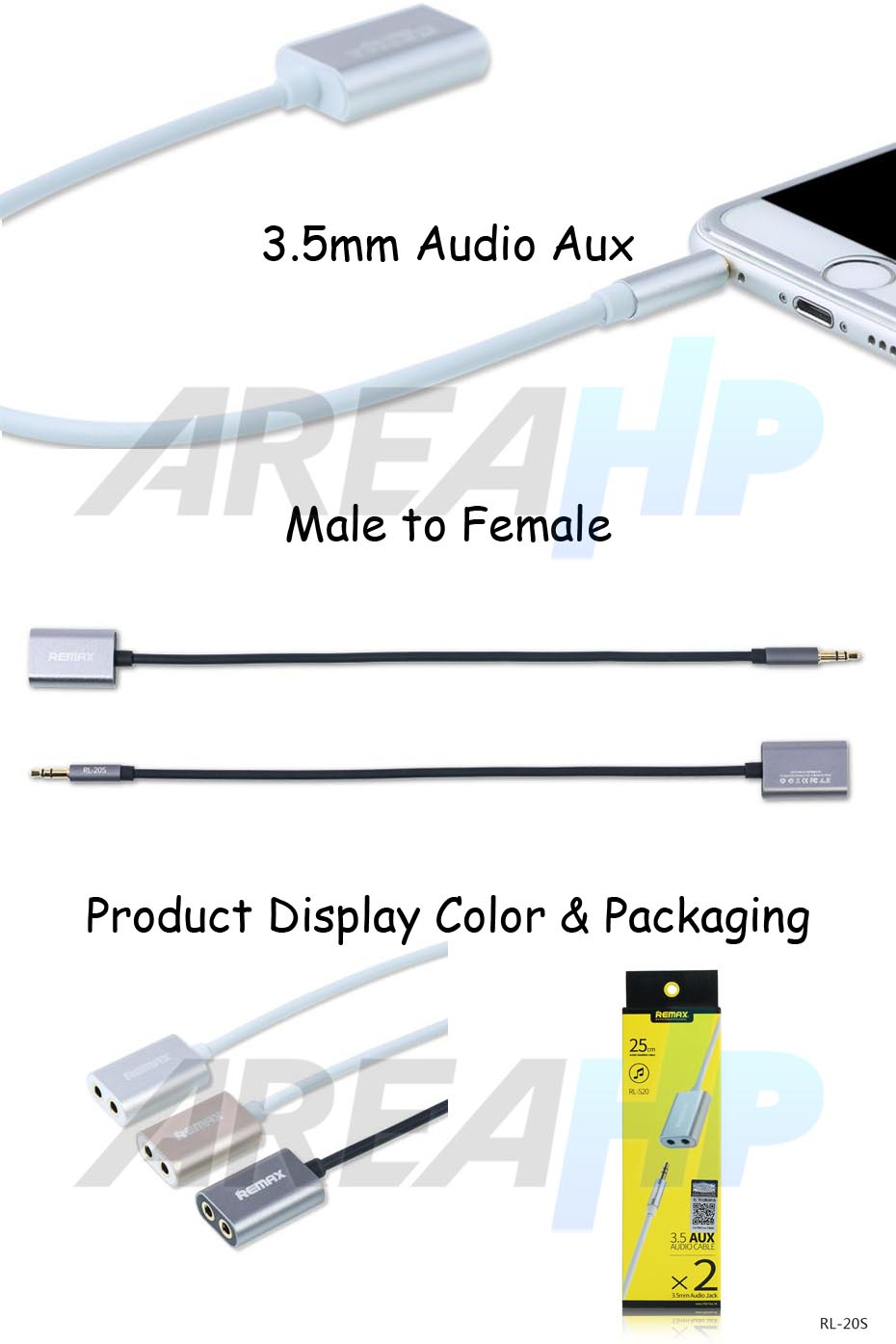 Remax Share 3.5mm Audio Aux Male to Female Jack Cable RL-20S Overview