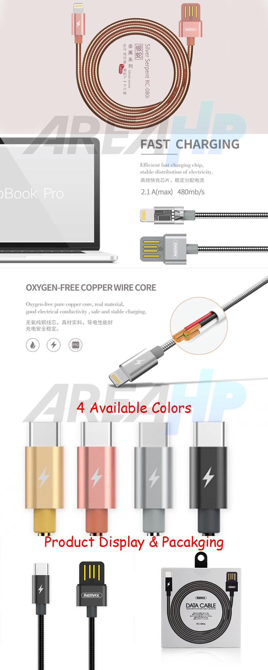 Remax Silver Serpent Type C USB Fast Charging Data Cable 1M RC-080A Overview