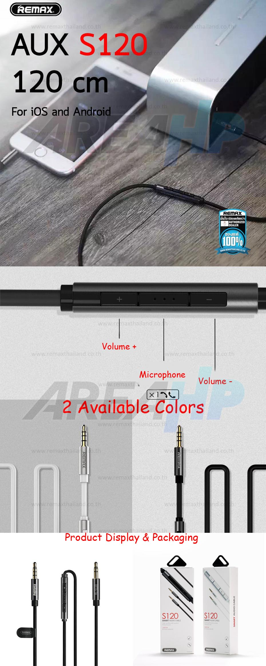 Remax Smart 3.5mm Audio Aux Male to Male Jack Cable with Mic 1.2M S120 Overview