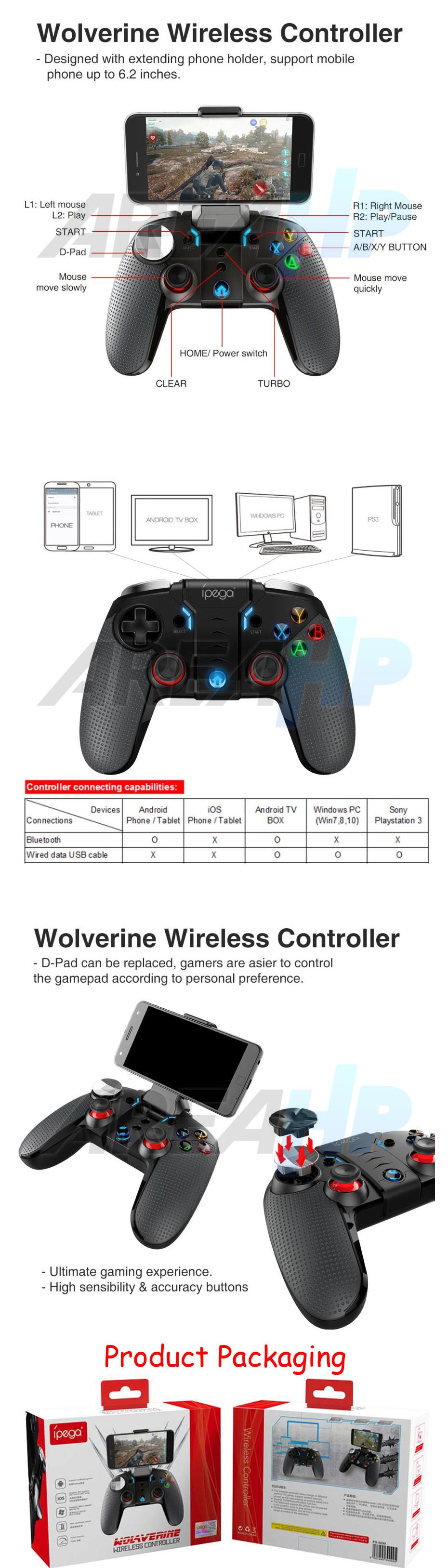 Ipega Gamepad PG-9099 Wolverine with Backlight Bluetooth LED Light Vibrate Overview