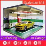 Diorama Diecast Car Parking Lot Garage LED Lamp Green Scale 1 18