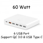 Xiaomi Universal Fast Charger 6 Port 60W Support USB Type C QC 3