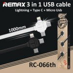 Remax Lesu 3in1 Apple Lightning, Micro, Type C USB Cable 1M RC-066TH
